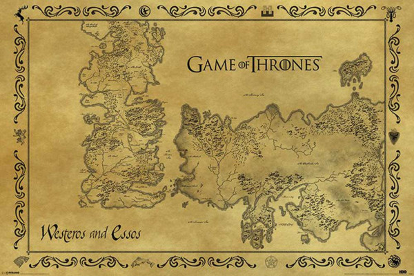 Poster: Game of Thrones - Karte von Westeros